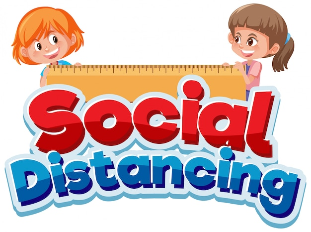 Font design for phrase social distancing with two happy girls