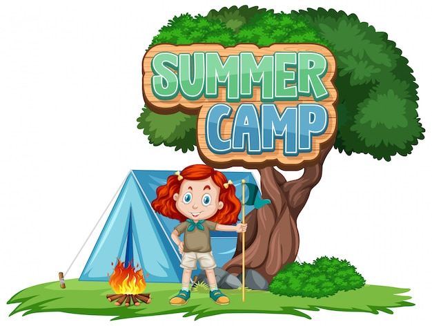 Font design for summer camp with cute kid at park