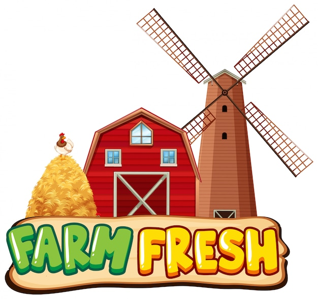 Font design template for farm fresh with barn and windmill