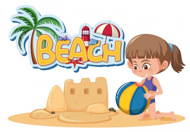 Font design template for word beach with girl playing sandcastle