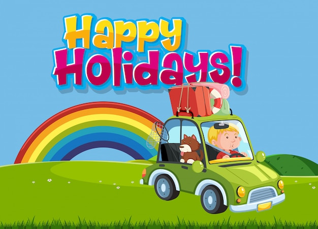 Font design template for word happy holidays with kid driving
