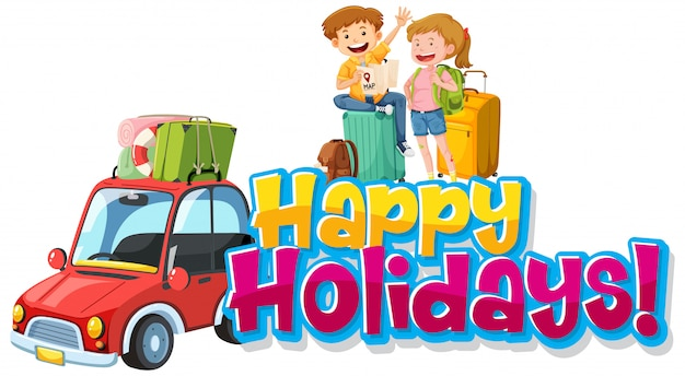 Font design template for word happy holidays with people on road trip