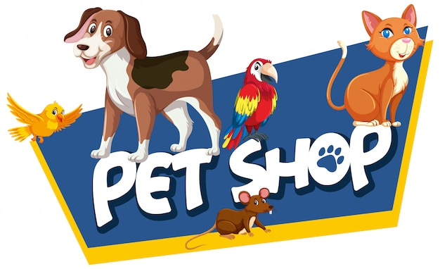 Font design template for word pet shop with many animals