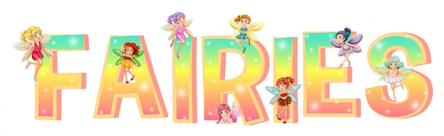 Font design with colorful fairies
