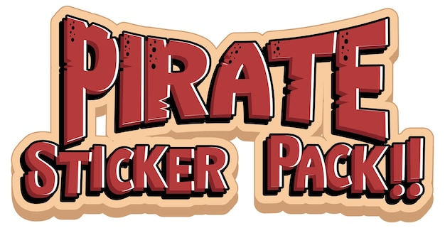 Font design with pirate sticker pack word