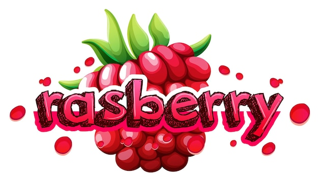Font design with word rasberry
