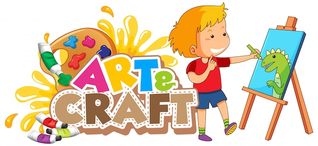 Font design for word art and craft with boy drawing on canvas