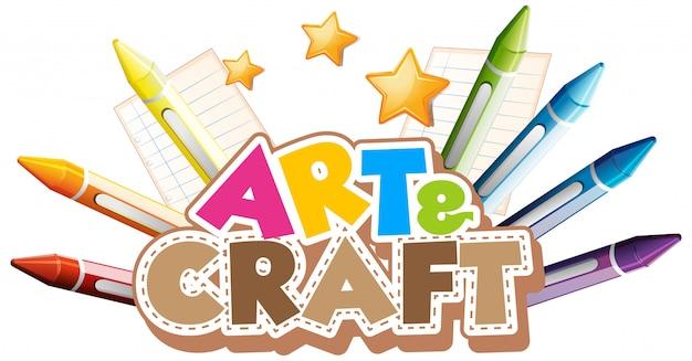 Design dei caratteri per la parola arte e artigianato con pastelli colorati