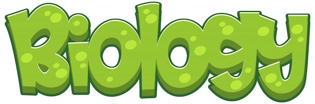 Font design for word biology in green color