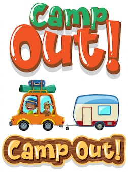 Font design for word camp out with boy driving car