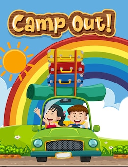 Font design for word camp out with kids on the road