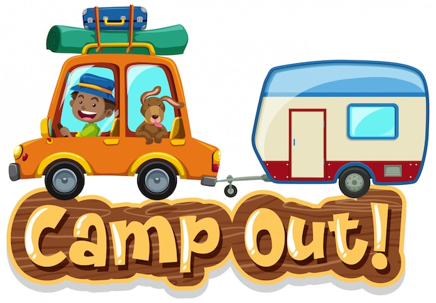 Font design for word camp out with man driving car