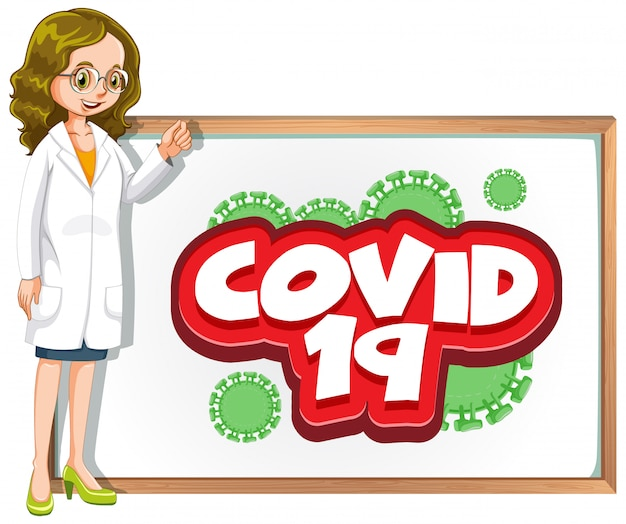 Font design for word covid 19 with doctor and board