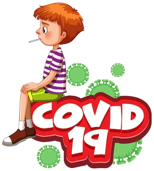 Font design for word covid 19 with sick boy