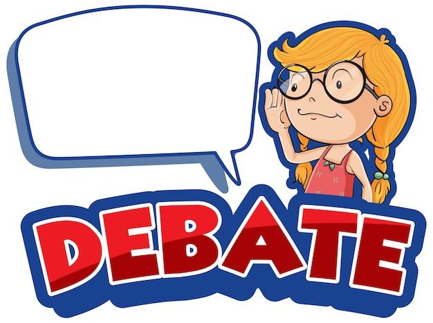 Design dei caratteri per il dibattito di parole con una ragazza felice
