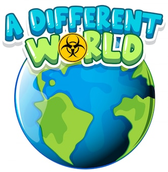 Font design for word a different world with earth on white background