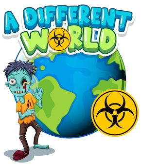 Font design for word different world with zombie on earth