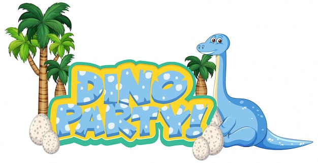 Font design for word dino party with apatosaurus and egss
