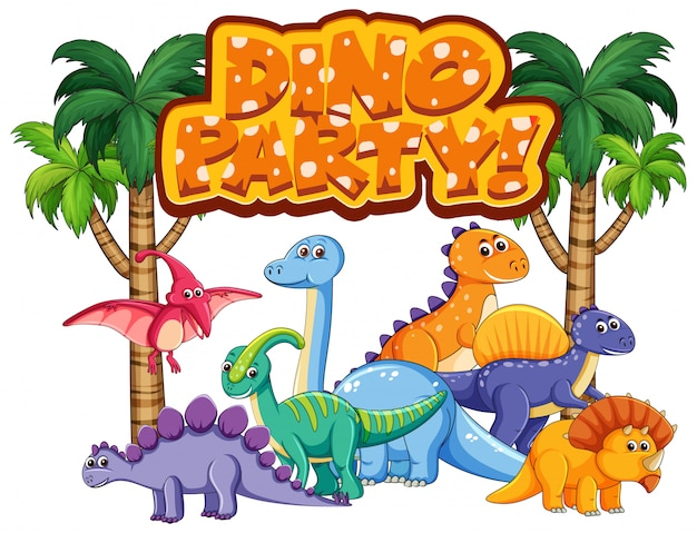 Design dei caratteri per la parola festa di dinosauro con molti dinosauri