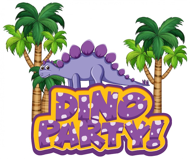 Font design for word dino party with stegosaurus in forest