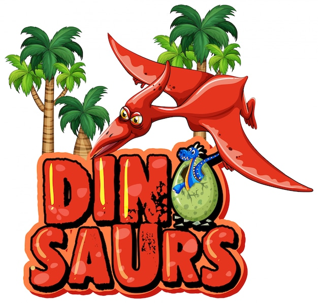 Font design for word dinosaur with pteranodon flying