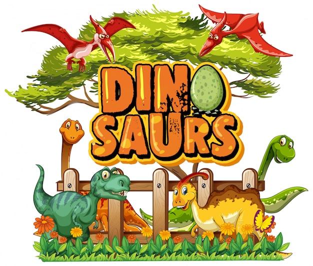 Design dei caratteri per la parola dinosauri con molti dinosauri nel parco