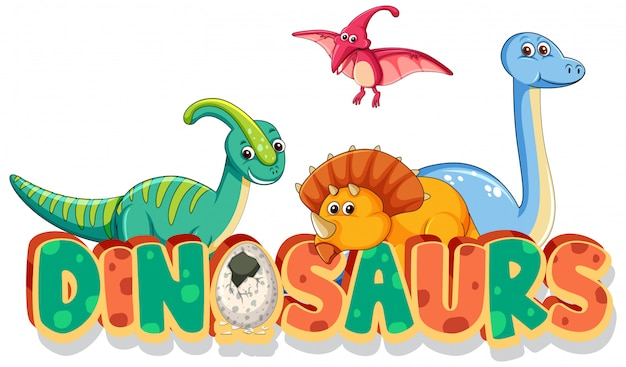 Font design for word dinosaurs with many types of dinosaurs on white background