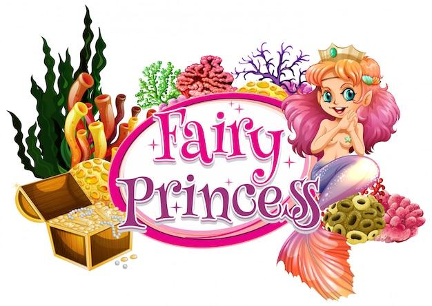 Design dei caratteri per la parola fata principessa con sirena sott'acqua
