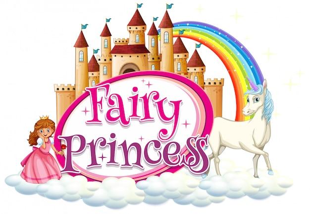 Design dei caratteri per la parola fata principessa con unicorno e principessa