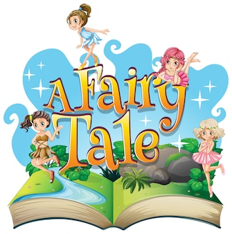 Font design for word a fairy tale with fairies flying in garden