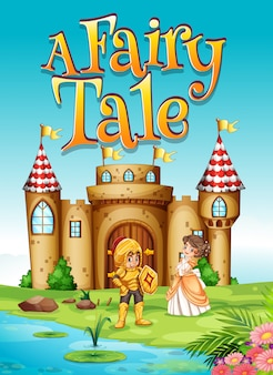 Font design for word a fairy tale with knight and princess