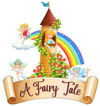 Font design for word a fairy tale with princess and fairies in the castle