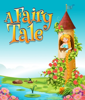 Font design for word a fairy tale with princess in the tower