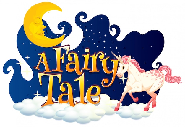 Font design for word a fairy tale with white unicorn in night sky