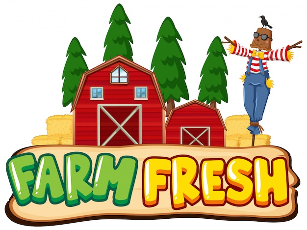 Font design for word farm fresh with scarecrow and red barns