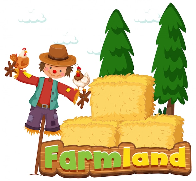 Font design for word farmland with scarecrow and hay