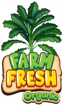 Font design for word fresh farm with green kale