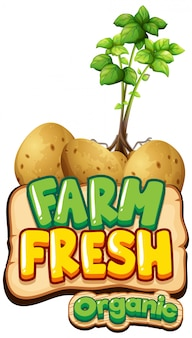 Font design for word fresh farm with potatoe plants