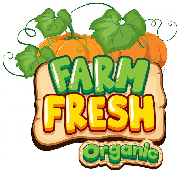 Font design for word fresh farm with pumpkins
