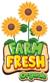 Font design for word fresh farm with sunflowers