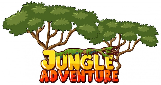 Font design for word jungle adventure with trees in background
