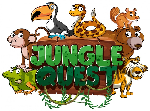 Font design for word jungle quest on white background