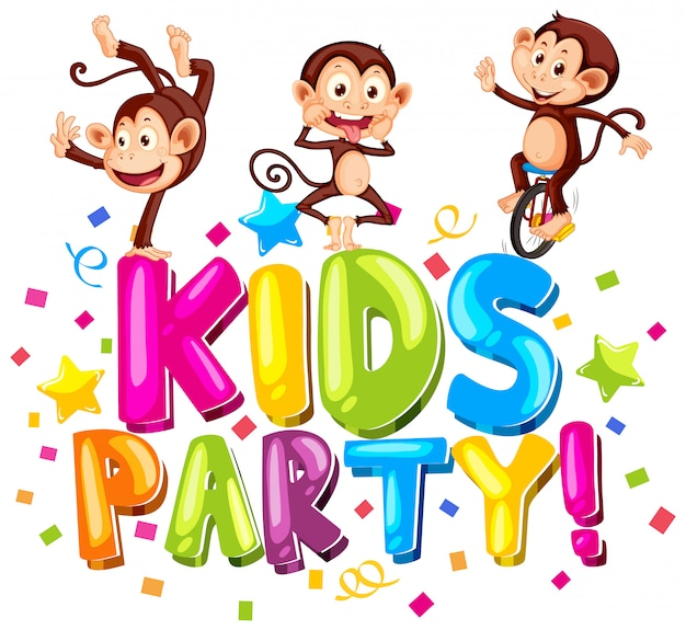 Font design for word kids party with cute monkeys