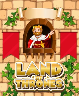 Font design for word land of thrones with king