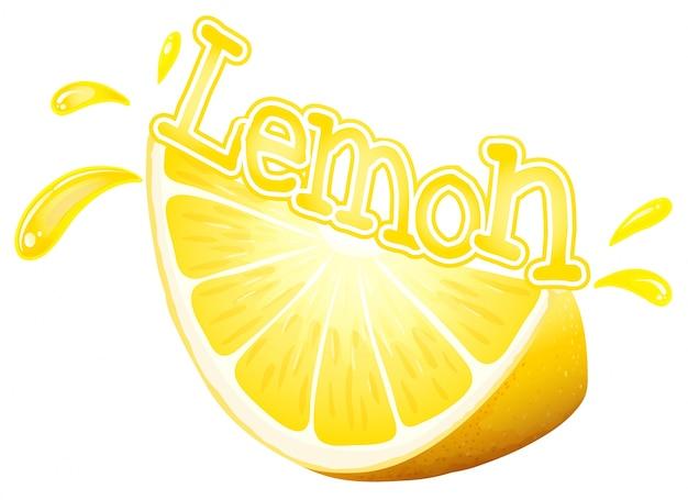 Font design for word lemon with fresh slice of lemon illustration