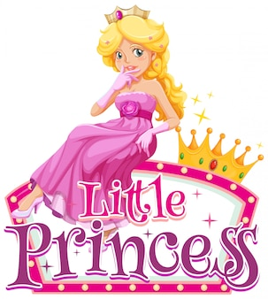 Font design for word little princess with cute princees in pink
