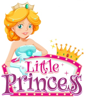 Font design for word little princess with cute princess on white background