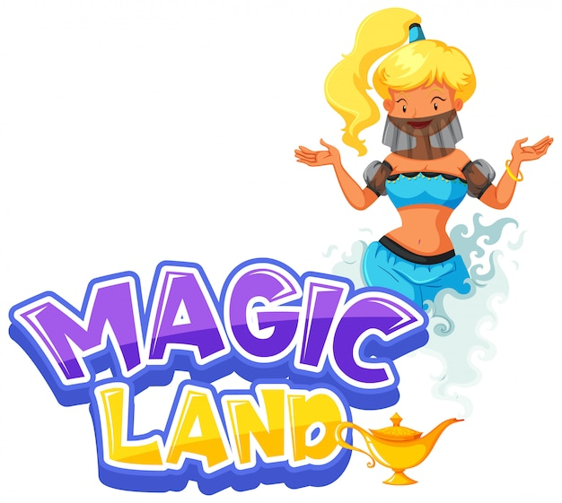 Font design for word magic land with genie from the lamp