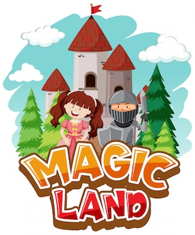 Font design for word magic land with princess and knight
