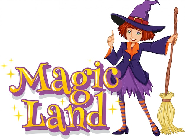 Font design for word magic land with witch holding broom